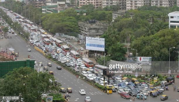 Protests and Demonstrations Mumbai Traffic Jam Traffic Jam at Haji ali signal due Rasta Roko by Students of New Era School at Peddar Road in Mumbai...