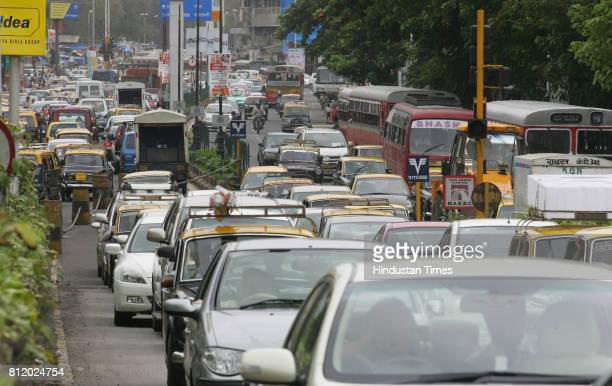 Protests and Demonstrations Mumbai Traffic Jam Traffic Jam at Worli Naka due to Rasta Roko by Students of New Era School at Peddar Road in Mumbai on...