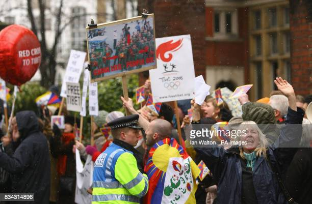 ProTibetan demonstrators during the relay of the Olympic torch during its journey across London on its way to the lighting of the Olympic cauldron at...