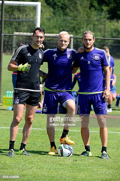 Proto Silvio goalkeeper of Rsc Anderlecht and Deschacht Olivier defender of Rsc Anderlecht and Gillet Guillaume of Rsc Anderlecht pictured during the...