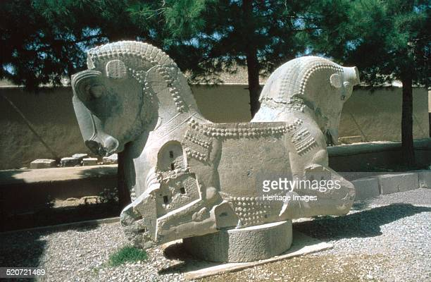 Protome of a double horse the Apadana Persepolis Iran The capital of Achaemenid Persia Persepolis was predominantly built during the reigns of the...