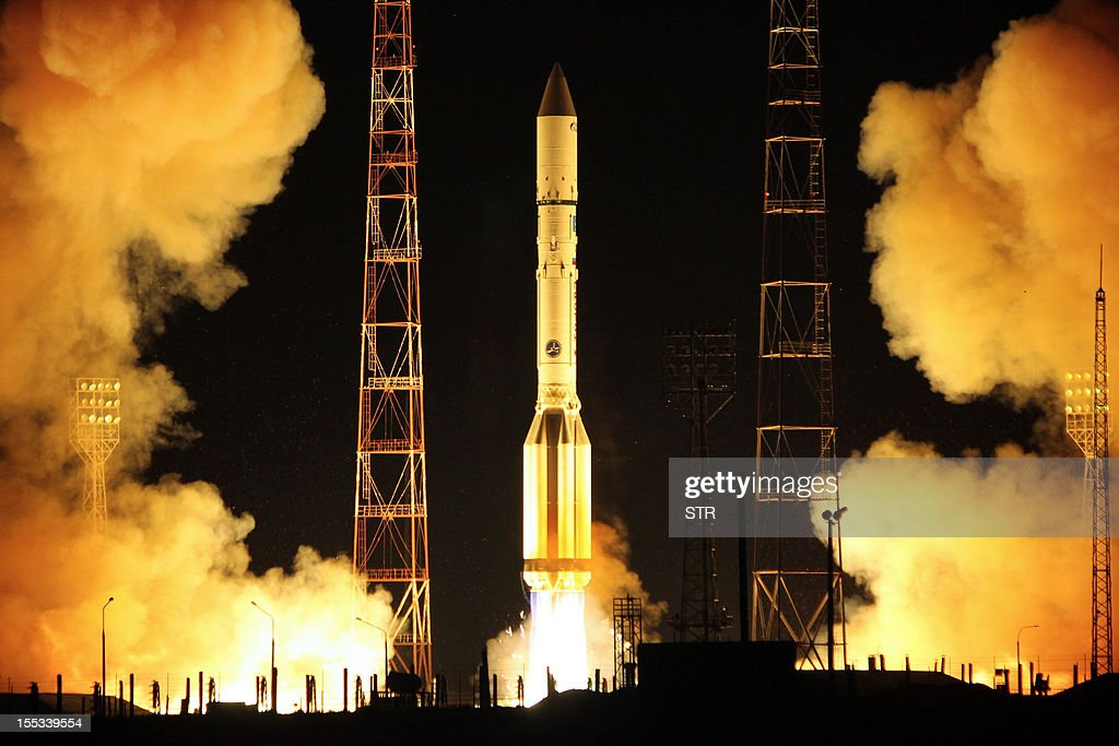 A Proton-M rocket, carrying a Luch-5B and Yamal-300K spacecrafts, blasts off from the Russian-leased Kazakhstan's Baikonur cosmodrome, early on November 3, 2012.