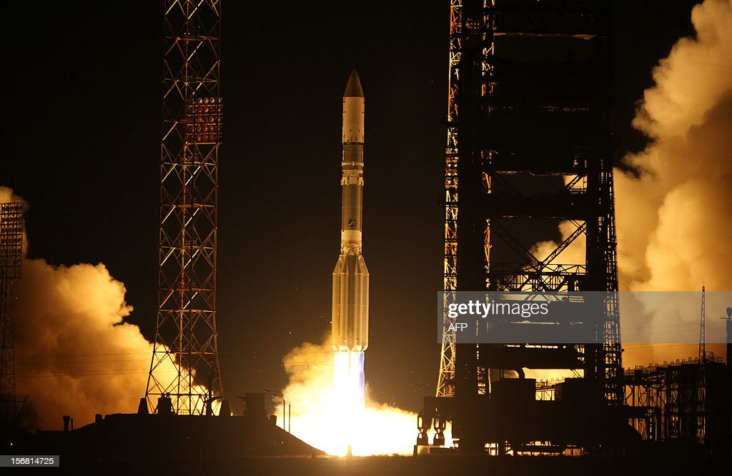 A Proton-M rocket of the International Launch Services (ILS), carrying the EchoStar XVI satellite, blasts off from the Russian leased Kazakhstan's Baikonur cosmodrome early on November 21, 2010. The Russian Proton vehicle successfully released the EchoStar XVI satellite into geostationary transfer orbit.