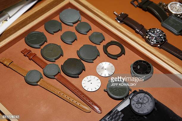 Prototype 3D printed watch designs are shown at the Shinola Watch factory on January 4 2017 in Detroit Michigan Shinola a young American company is...