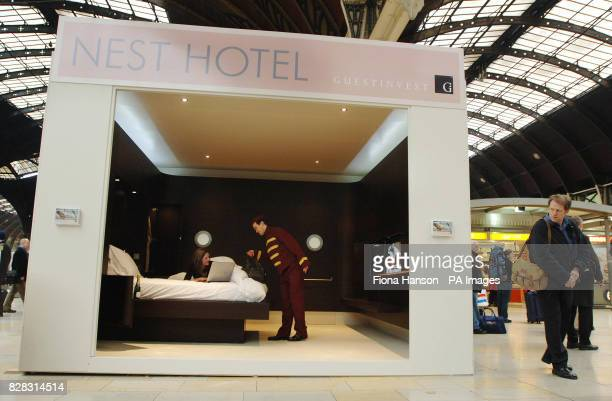A prototype Nest hotel room by Guestinvest on show at London's Paddington station Monday Janaury 30 2006 Guestinvest plan to build a second luxury...