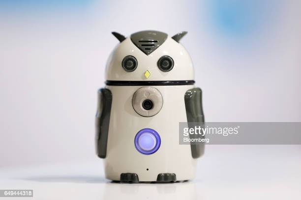 A prototype of a Hatapro Inc Zukku communication robot sits on display at a SoftBank Corp Style media event in Tokyo Japan on Wednesday March 8 2017...