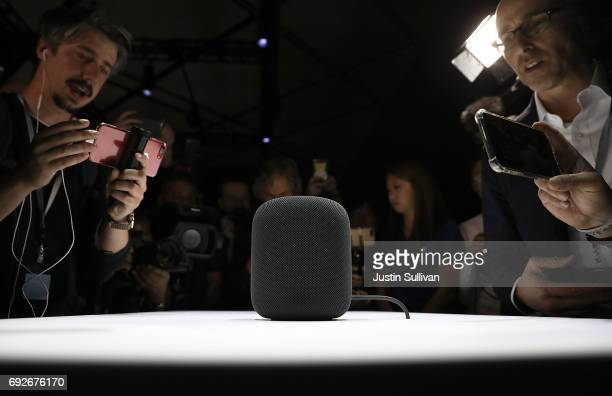 A prototype of Apple's new HomePod is displayed during the 2017 Apple Worldwide Developer Conference at the San Jose Convention Center on June 5 2017...