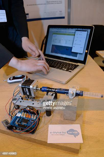 A prototype of the EStylus an insulin injection pen for diabetics is pictured on May 10 during the 2014 Concours Lepine as part of the Paris' Fair at...