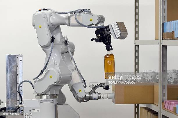 A prototype robot with two arms which was developed by Japan's comprehensive electrical machinery manufacturer Hitachi for distribution warehouses...