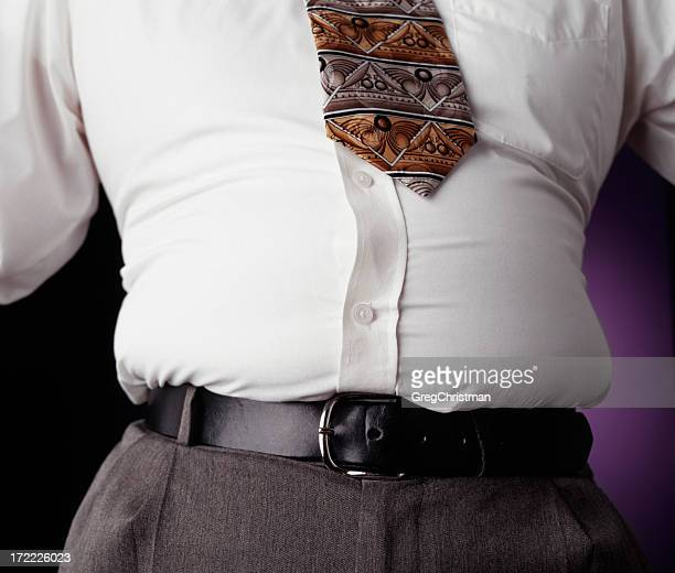 Protruding waistline, common within the middle aged man