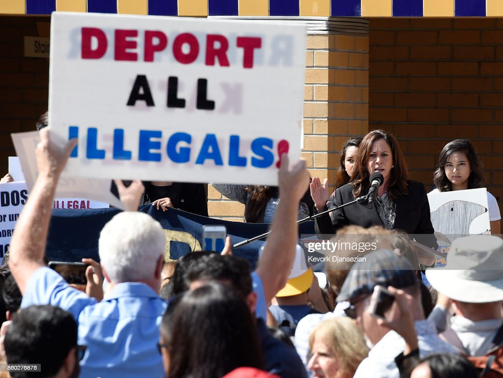 Pro-Trump supporters try to interrupt Sen. Kamala Harris (D-CA) during her speech at a Dream Act (Deferred Action for Childhood Arrivals) rally in the Student Center at University of California Irvine October 11, 2017 In Irvine, California.