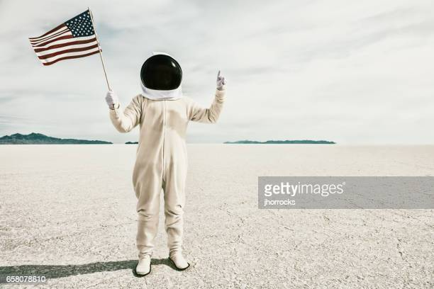 Proud American Astronaut with Flag