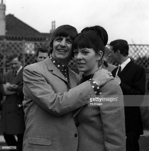 Proud new husband Ringo Starr the Beatles drummer is pictured with his bride the former Maureen Cox in the garden of the house in Princes Crescent...