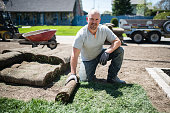 Adult man laying sod for new lawn