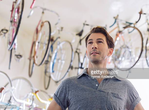 Proud Owner of an Antique Bicycle Store