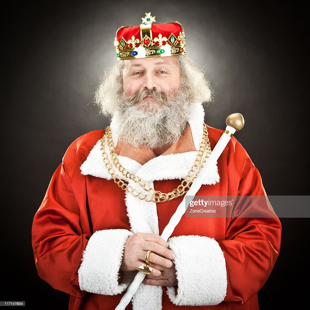 proud senior king or emperor with red cloak and crown : Stock Photo