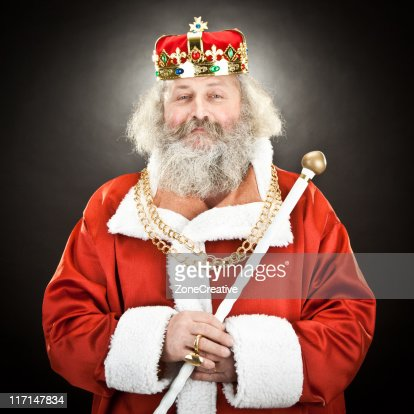 proud senior king or emperor with red cloak and crown