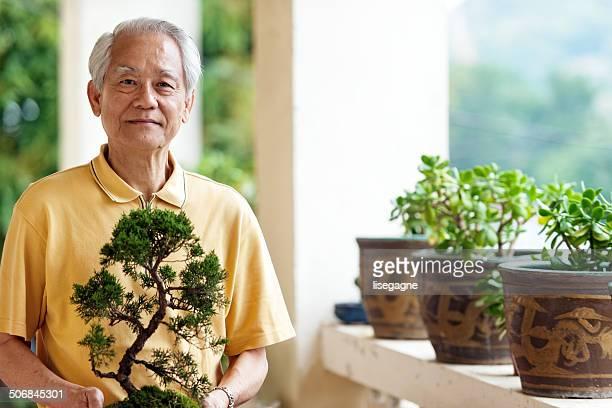 Proud senior man holding bansai tree