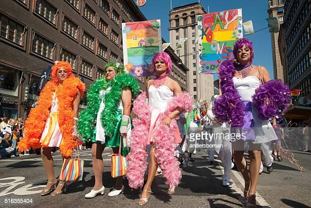 proud transvestites in the Stockholm Pride Parade