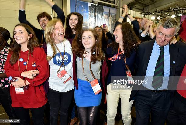 ProUnion supporters celebrate following referendum results at the Royal Highland Centre in Edinburgh Scotland on September 19 2014 Scotland's First...