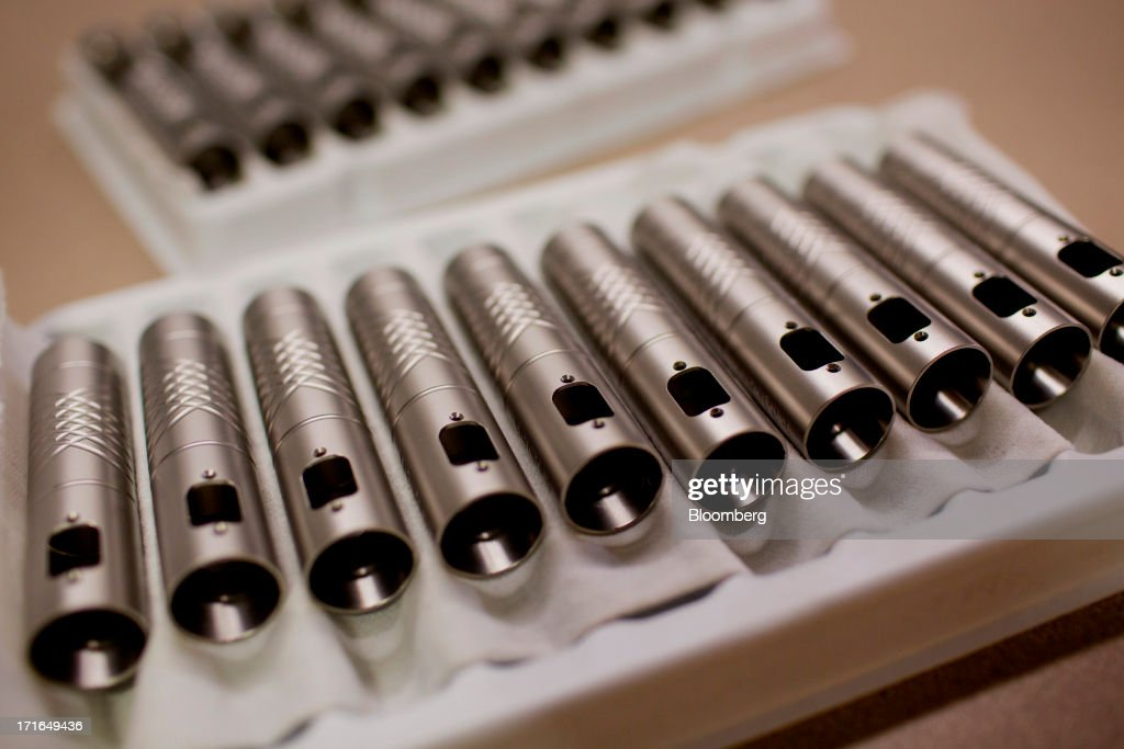 ProVari model electronic cigarette shells await installation of electronic components at the ProVape Inc. facility in Monroe, Washington, U.S., on Wednesday, June 26, 2013. U.S. sales of electronic cigarettes are estimated to double in 2013 from last year, to $1 billion, according to estimates made by the Tobacco Merchants Association (TMA) and Mintel. Photographer: Mike Kane/Bloomberg via Getty Images