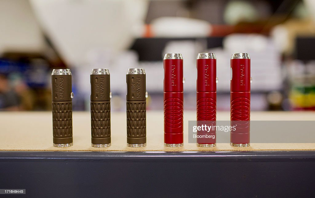 ProVari model electronic cigarettes are arranged for a photograph at the ProVape Inc. facility in Monroe, Washington, U.S., on Wednesday, June 26, 2013. U.S. sales of electronic cigarettes are estimated to double in 2013 from last year, to $1 billion, according to estimates made by the Tobacco Merchants Association (TMA) and Mintel. Photographer: Mike Kane/Bloomberg via Getty Images