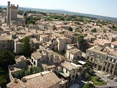 Provencal tiled roofs in Uzes, Southern France