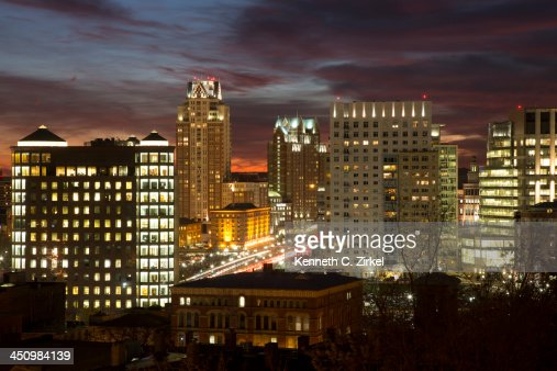 Providence (RI) night view : Stock Photo