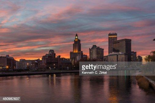 Providence, Rhode Island sunset : Stock Photo