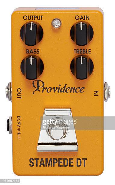 A Providence Stampede DT SDT2 overdrive/distortion electric guitar effects pedal photographed during a studio shoot for Guitarist Magazine September...