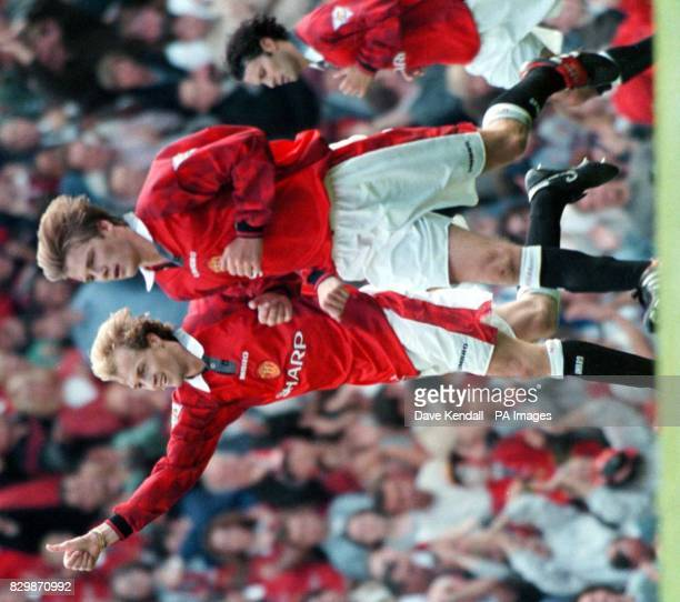 Proving that skill is all in the blood Man Utd's Jordi Cruyff salutes his opening goal in his sides 22 draw against Blackburn this afternoon Pic Dave...