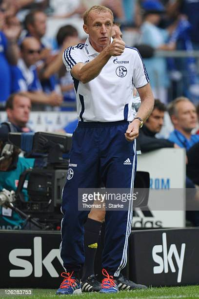 Provisional coach Josef Seppo Eichkorn of Schalke reacts during the Bundesliga match between FC Schalke 04 and SC Freiburg at Veltins Arena on...