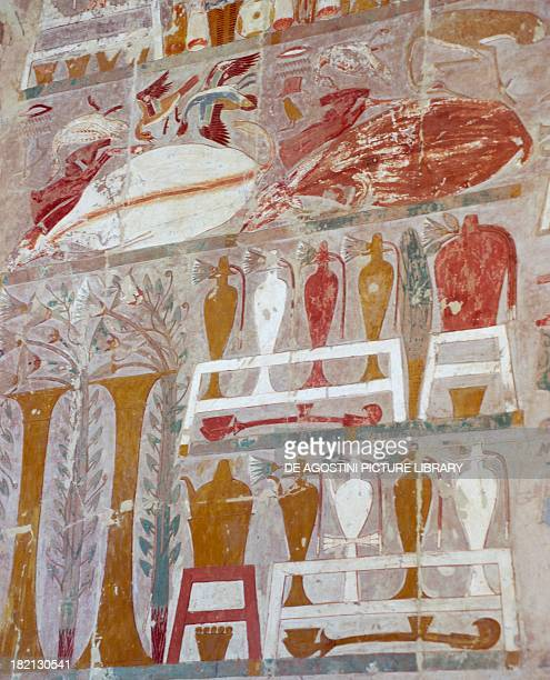 Provisions and pottery offered to the gods by Queen Hatshepsut detail of painted relief Chapel of Anubis Mortuary Temple of Queen Hatshepsut also...
