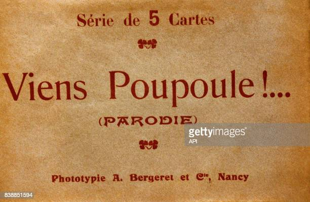 Présentation d'une série de 5 cartes sur la chanson de Félix Mayol 'Viens Poupoule'