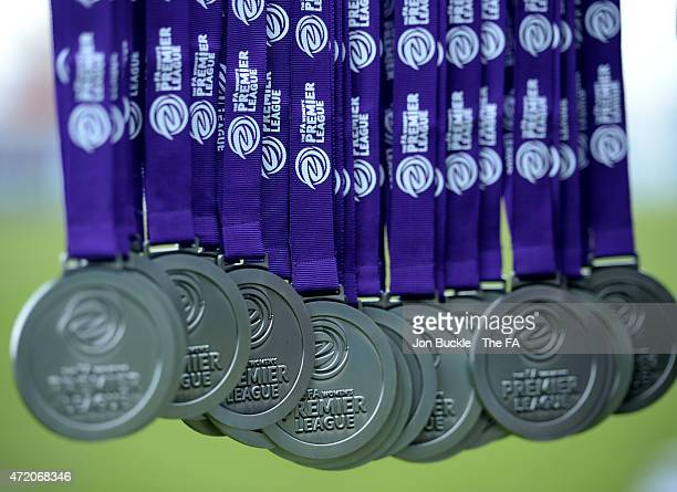 Prsentation medals during the FA Women's Premier League Cup Final between Sheffield FC Ladies and Charlton Athletic WFC at James Parnell Stadium on...