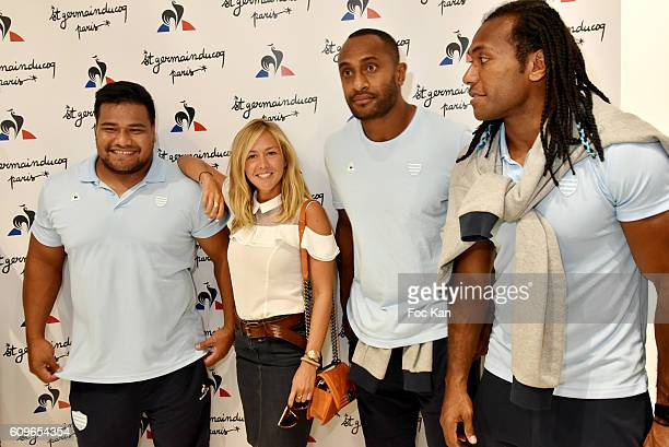 TV prsenter Enora Malagre and rugbymen from RC92 attend the Coq Sportif Boutique Opening Party on September 21 2016 in Paris France