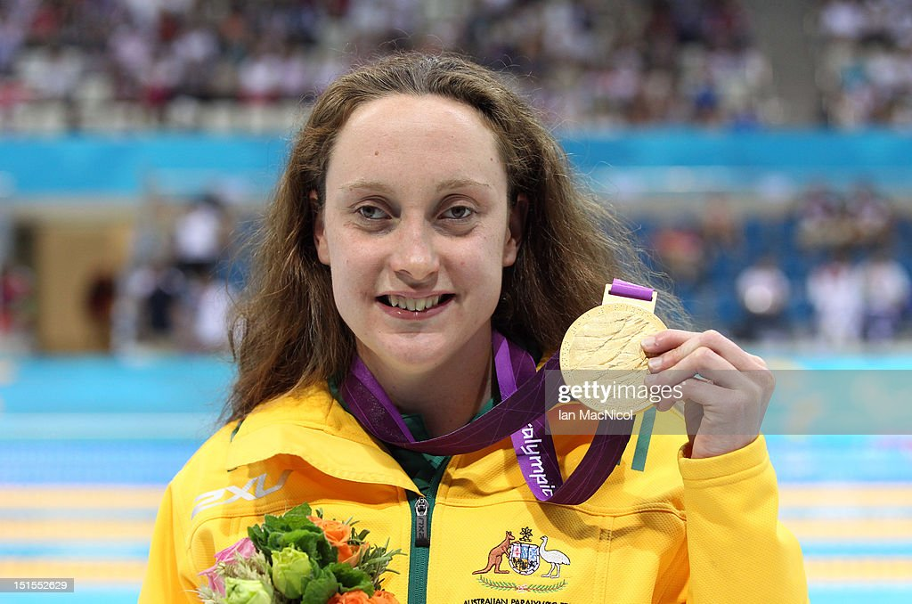 Prue Watt of Australia poses with the gold medal after winning the Women's 100m Breaststroke - SB13 Final, on day ten of the London 2012 Paralympic Games at the Aquatics Centre on September 8, 2012 in London, England.