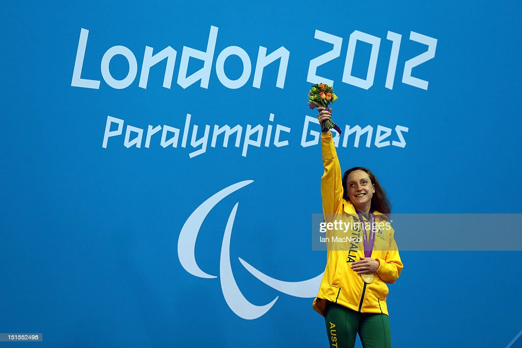 Prue Watt of Australia poses with the gold medal she won in the Women's 100m Breaststroke - SB13 Final, on day ten of the London 2012 Paralympic Games at the Aquatics Centre on September 08, 2012 in London, England.