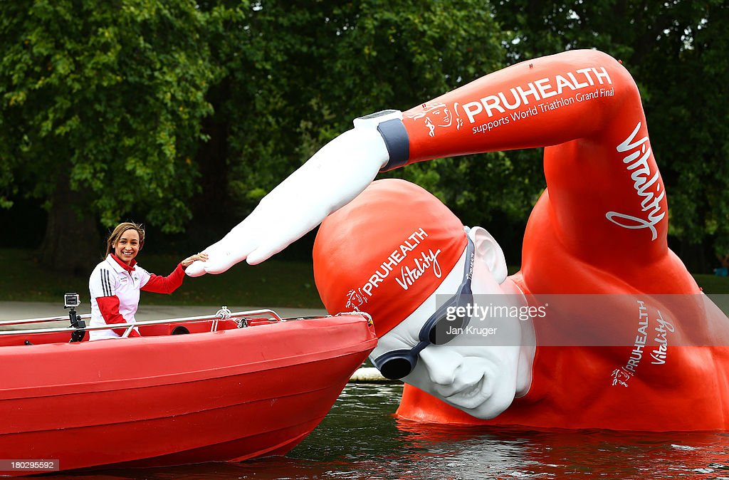 PruHealth Vitality Ambassador <a gi-track='captionPersonalityLinkClicked' href=/galleries/search?phrase=Jessica+Ennis&family=editorial&specificpeople=602482 ng-click='$event.stopPropagation()'>Jessica Ennis</a>-Hill launches the PruHealth World Triathlon Grand Final in Hyde Park by unveiling 'Victor', a giant floating sculpture on the Serpentine at Hyde Park that 8,500 competitors will swim by over the course of the event on September 11, 2013 in London, England.