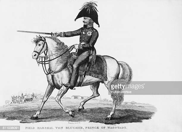 Prussian Field Marshal Gebhard Leberecht von Blucher at the Battle of Waterloo during the Napoleonic War of the Seventh Coalition on 18th June 1815...