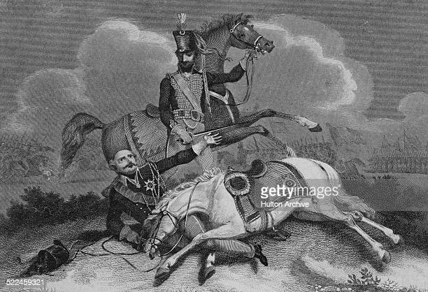 Prussian Field Marshal Gebhard Leberecht von Blucher has his horse shot from beneath him at the Battle of Ligny during the Napoleonic War of the...