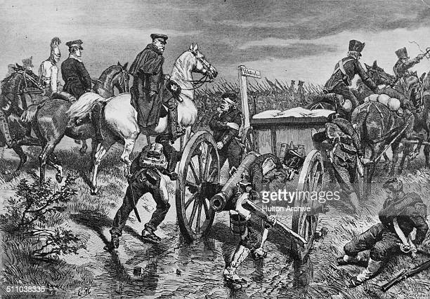 Prussian Field Marshal Gebhard Leberecht von Blucher leads his Prussian army to join up with Wellington at Waterloo after his defeat at the Battle of...