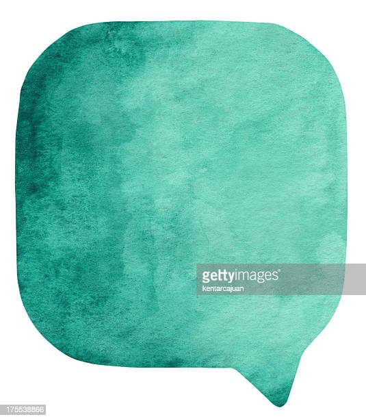 Prussian Green watercolour speech bubble