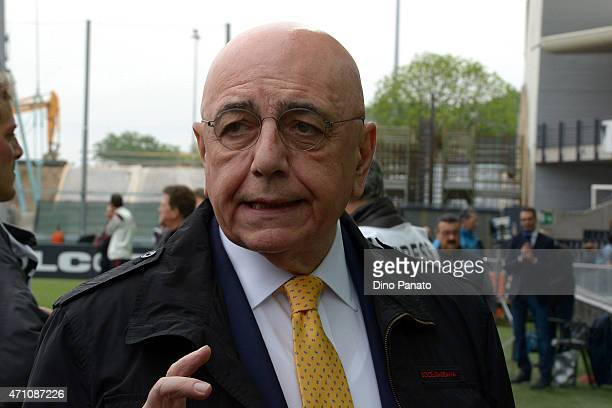 Prwsident of AC Milan Adriano Galliani looks on during the Serie A match between Udinese Calcio and AC Milan at Stadio Friuli on April 25 2015 in...