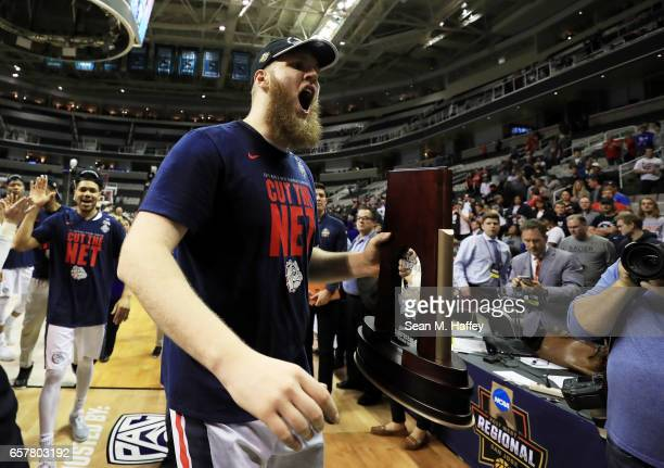 Przemek Karnowski of the Gonzaga Bulldogs celebrates their 83 to 59 win over the Xavier Musketeers during the 2017 NCAA Men's Basketball Tournament...