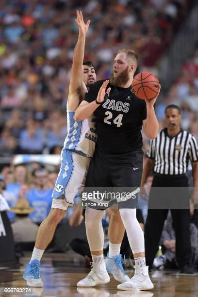 Przemek Karnowski of the Gonzaga Bulldogs in action against Luke Maye of the North Carolina Tar Heels during the 2017 NCAA Men's Final Four...