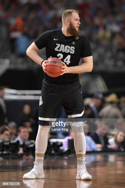 Przemek Karnowski of the Gonzaga Bulldogs in action against the North Carolina Tar Heels during the 2017 NCAA Men's Final Four Championship at...