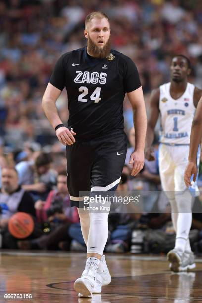 Przemek Karnowski of the Gonzaga Bulldogs looks on against the North Carolina Tar Heels during the 2017 NCAA Men's Final Four Championship at...