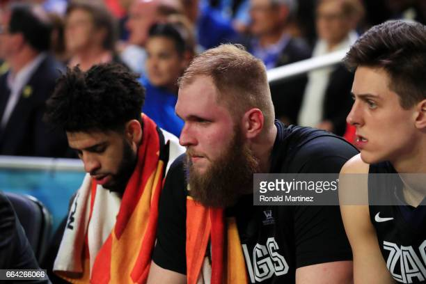 Przemek Karnowski of the Gonzaga Bulldogs looks on from the bench against the North Carolina Tar Heels during the 2017 NCAA Men's Final Four National...