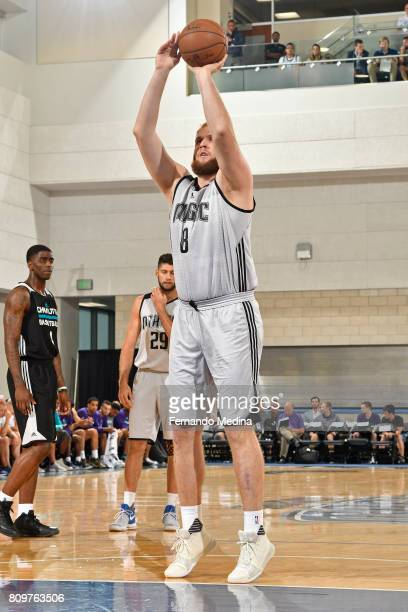 Przemek Karnowski of the Orlando Magic shoots a foul shot against the Charlotte Hornets during the Mountain Dew Orlando Pro Summer League on July 6...